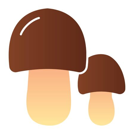 Two mushrooms flat icon. Forest food color icons in trendy flat style. Nature gradient style design, designed for web and app.