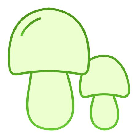 Two mushrooms flat icon. Forest food green icons in trendy flat style. Nature gradient style design, designed for web and app. Çizim