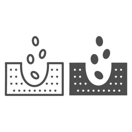 Ligne de semis et icône de glyphe. Graines tombant dans l'illustration vectorielle au sol isolée sur blanc. Conception de style de contour agricole, conçue pour le Web et l'application.
