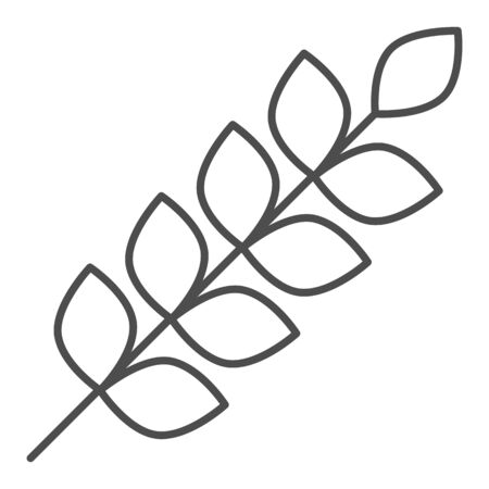Wheat ears thin line icon. Agriculture vector illustration isolated on white. Plant outline style design, designed for web and app.