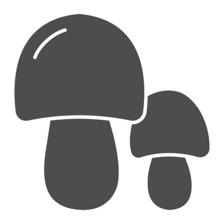 Two mushrooms solid icon. Forest food vector illustration isolated on white. Nature glyph style design, designed for web and app.