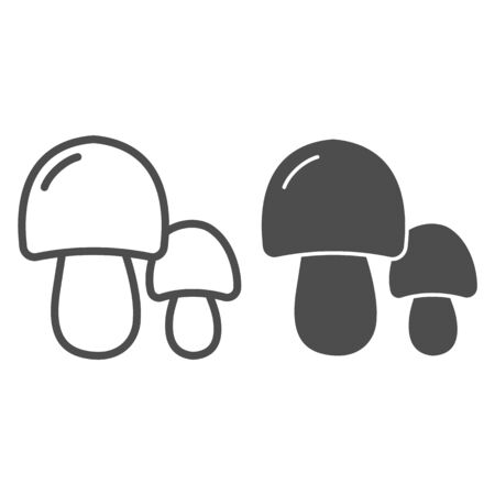 Two mushrooms line and glyph icon. Forest food vector illustration isolated on white. Nature outline style design, designed for web and app. Illustration