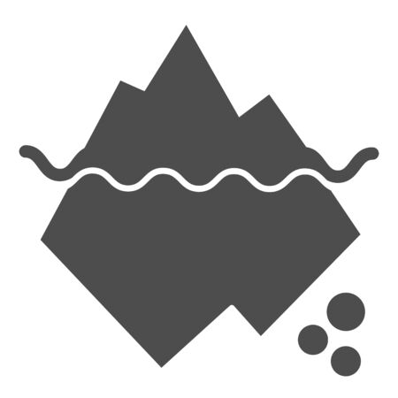Iceberg in water solid icon. Berg vector illustration isolated on white. Antarctic landscape glyph style design, designed for web and app.