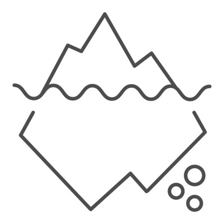 Iceberg in water thin line icon. Berg vector illustration isolated on white. Antarctic landscape outline style design, designed for web and app.