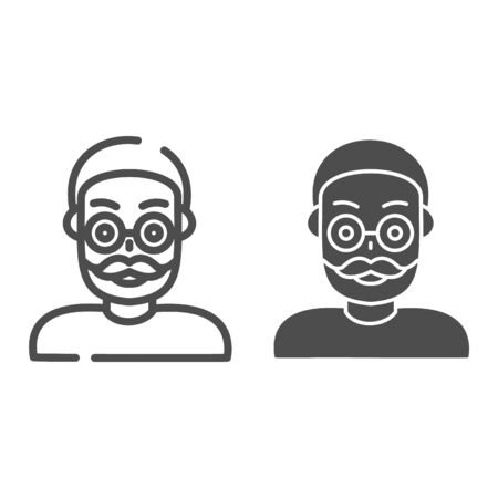 Old man line and glyph icon. Adult man vector illustration isolated on white. Grandfather outline style design, designed for web and app.