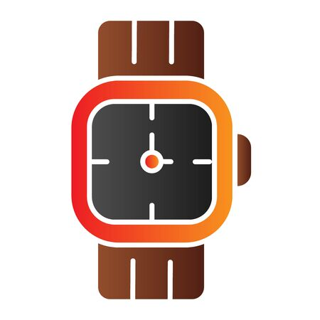 Mens wrist watch flat icon. Male hand accessory color icons in trendy flat style. Clock gradient style design, designed for web and app. 矢量图像