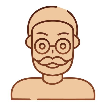 Old man flat icon. Adult man brown icons in trendy flat style. Grandfather gradient style design, designed for web and app. Иллюстрация