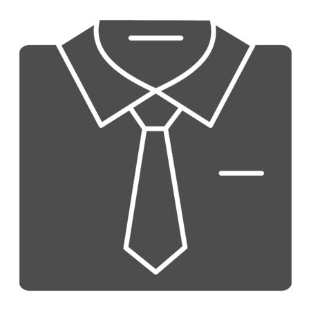 Shirt with tie solid icon. Formal male clothes vector illustration isolated on white. Business suit glyph style design, designed for web and app. Иллюстрация