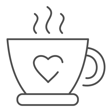 Hot cup of tea thin line icon. Mug with heart and steam vector illustration isolated on white. Coffee cup outline style design, designed for web and app. Иллюстрация