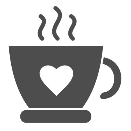 Hot cup of tea solid icon. Mug with heart and steam vector illustration isolated on white. Coffee cup glyph style design, designed for web and app.