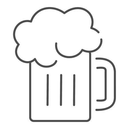 Beer mug thin line icon. Glass of beer with foam vector illustration isolated on white. Alcohol drink outline style design, designed for web and app. Иллюстрация