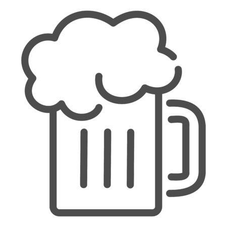 Beer mug line icon. Glass of beer with foam vector illustration isolated on white. Alcohol drink outline style design, designed for web and app.