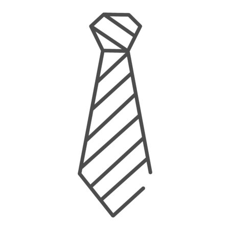 Tie thin line icon. Neckcloth vector illustration isolated on white. Striped necktie outline style design, designed for web and app. Иллюстрация