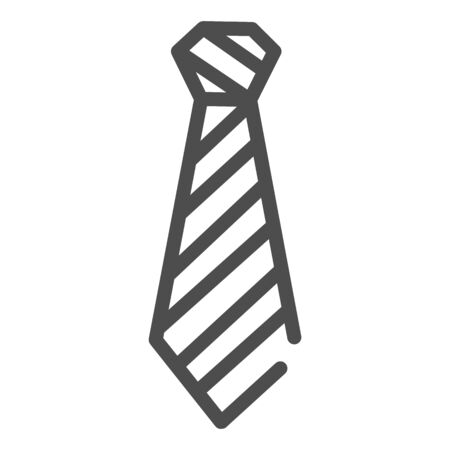 Tie line icon. Neckcloth vector illustration isolated on white. Striped necktie outline style design, designed for web and app.