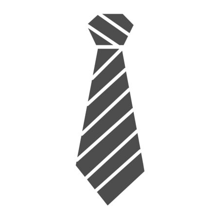 Tie solid icon. Neckcloth vector illustration isolated on white. Striped necktie glyph style design, designed for web and app.