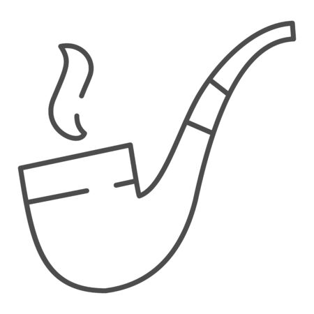 Smoking tube thin line icon. Tobacco pipe vector illustration isolated on white. Old tube cigar outline style design, designed for web and app. Иллюстрация