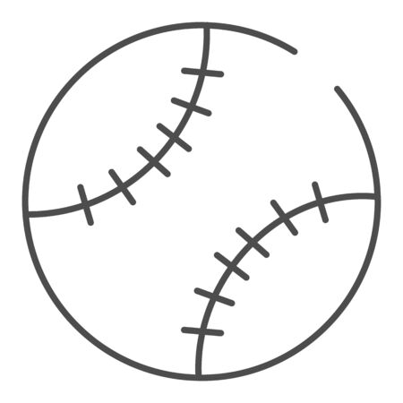Baseball ball thin line icon. Leather ball vector illustration isolated on white. Sport inventory outline style design, designed for web and app. Иллюстрация