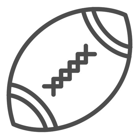 American football ball line icon. Rugby ball vector illustration isolated on white. Oval ball with stitches outline style design, designed for web and app.