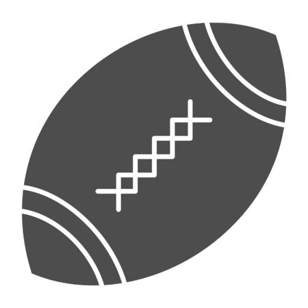 American football ball solid icon. Rugby ball vector illustration isolated on white. Oval ball with stitches glyph style design, designed for web and app.