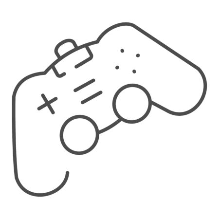 Game joystick thin line icon. Playing console vector illustration isolated on white. Gamepad outline style design, designed for web and app.