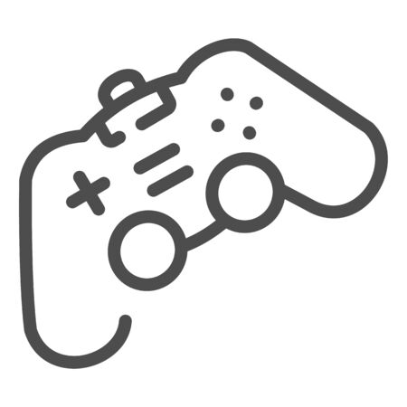Game joystick line icon. Playing console vector illustration isolated on white. Gamepad outline style design, designed for web and app. Иллюстрация