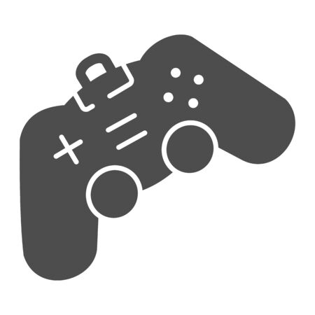 Game joystick solid icon. Playing console vector illustration isolated on white. Gamepad glyph style design, designed for web and app.