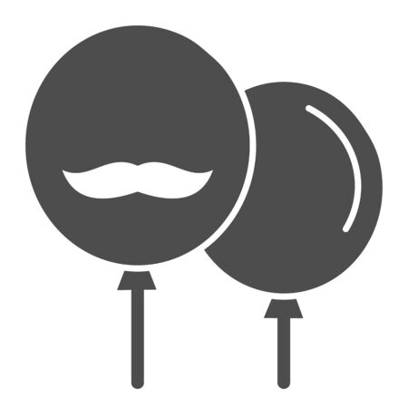 Baloons with mustache solid icon. Party baloons vector illustration isolated on white. Happy Fathers day glyph style design, designed for web and app.