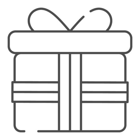 Gift box with bow thin line icon. Pesent with ribbon vector illustration isolated on white. Surprise package outline style design, designed for web and app.