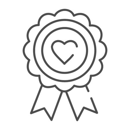 Heart award thin line icon. Medal with heart vector illustration isolated on white. Medal prize outline style design, designed for web and app