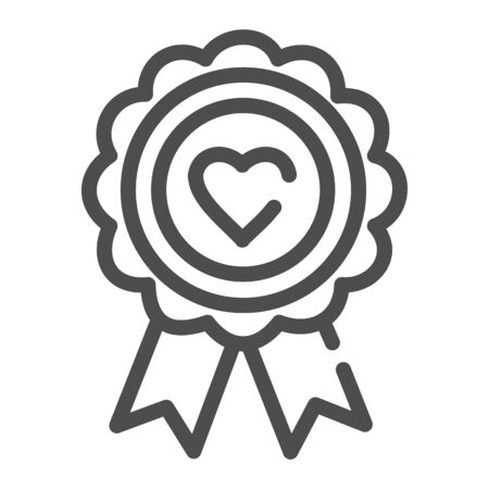 Heart award line icon. Medal with heart vector illustration isolated on white. Medal prize outline style design, designed for web and app.