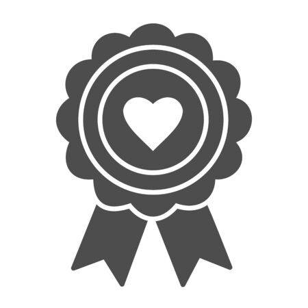 Heart award solid icon. Medal with heart vector illustration isolated on white. Medal prize glyph style design, designed for web and app.