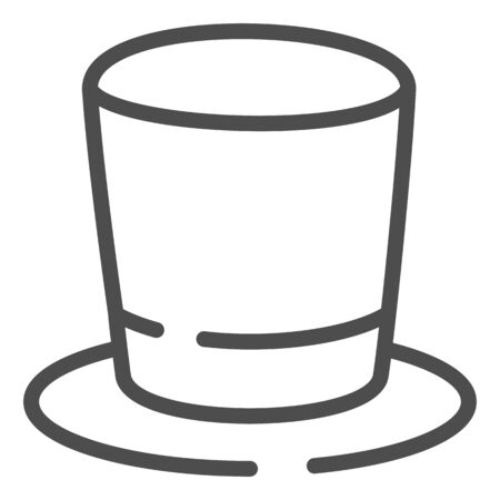 Cylinder hat line icon. Top hat vector illustration isolated on white. Gentleman hat outline style design, designed for web and app.