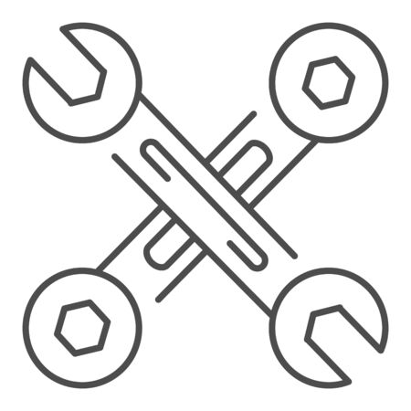 Crossed wrenches thin line icon. Work tools vector illustration isolated on white. Crossed spanners outline style design, designed for web and app. Иллюстрация
