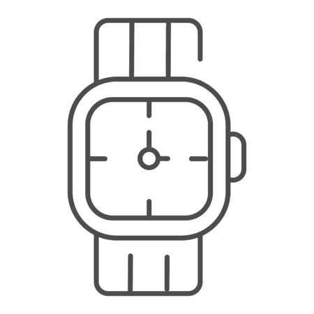 Mens wrist watch thin line icon. Male hand accessory vector illustration isolated on white. Clock outline style design, designed for web and app.