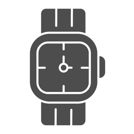 Mens wrist watch solid icon. Male hand accessory vector illustration isolated on white. Clock glyph style design, designed for web and app. Иллюстрация