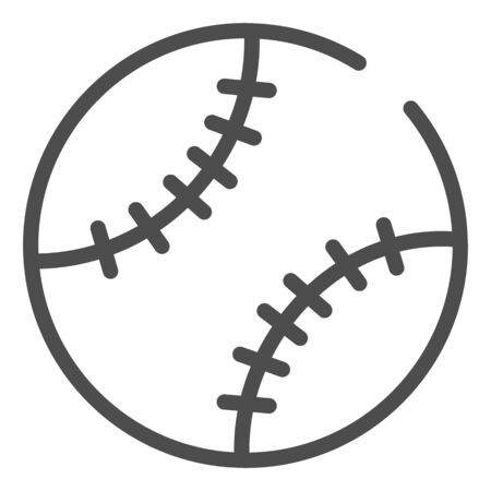 Baseball ball line icon. Leather ball vector illustration isolated on white. Sport inventory outline style design, designed for web and app.