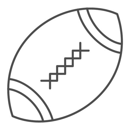 American football ball thin line icon. Rugby ball vector illustration isolated on white. Oval ball with stitches outline style design, designed for web and app. Иллюстрация