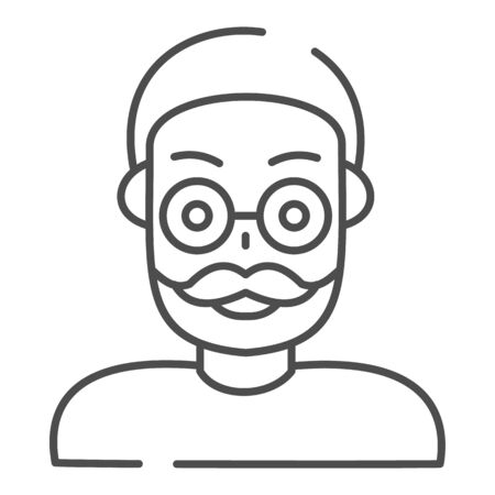 Old man thin line icon. Adult man vector illustration isolated on white. Grandfather outline style design, designed for web and app. Иллюстрация