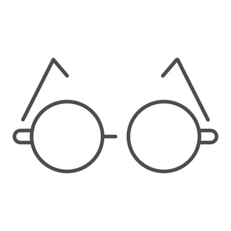 Round glasses thin line icon. Eyeglasses for reading vector illustration isolated on white. Spectacles outline style design, designed for web and app.