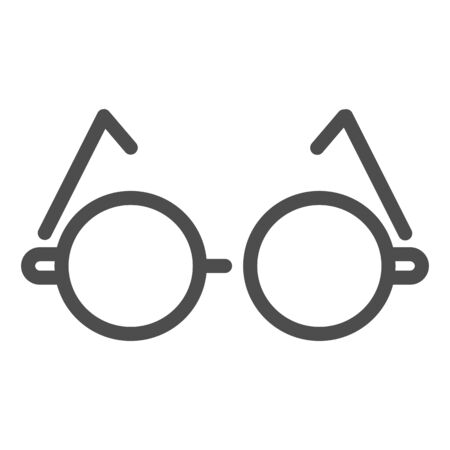 Round glasses line icon. Eyeglasses for reading vector illustration isolated on white. Spectacles outline style design, designed for web and app.