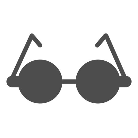 Round glasses solid icon. Eyeglasses for reading vector illustration isolated on white. Spectacles glyph style design, designed for web and app.