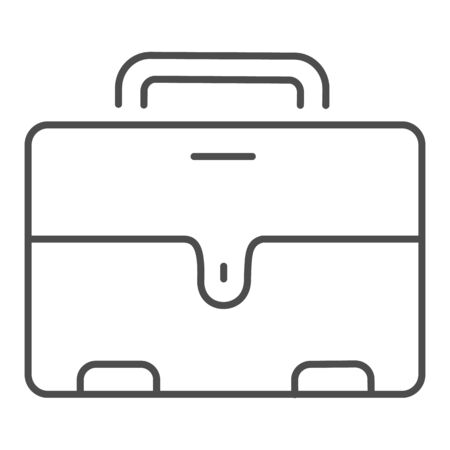 Mans briefcase thin line icon. Male suitcase vector illustration isolated on white. Office bag outline style design, designed for web and app.