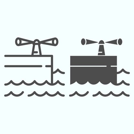 Icono de glifo y línea de puerto. Ilustración de vector de muelle aislado en blanco. Diseño de estilo de esquema de muelle, diseñado para web y aplicación.