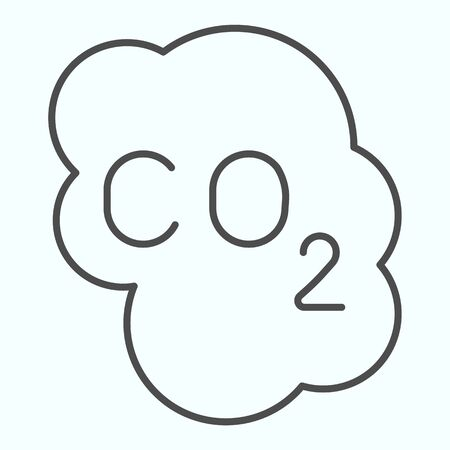 CO2 cloud thin line icon. Carbon Dioxide formula vector illustration isolated on white. Pollution outline style design, designed for web and app. Eps 10.