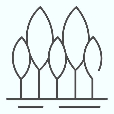 Forest thin line icon. Trees vector illustration isolated on white. Park outline style design, designed for web and app. Eps 10.