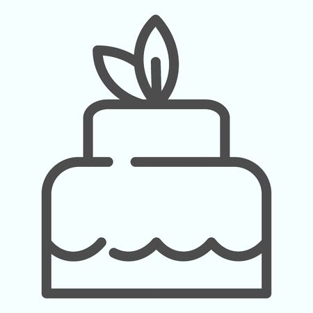 Delicious cacke line icon. Sweet dessert vector illustration isolated on white. Festive cake outline style design, designed for web and app. Eps 10.