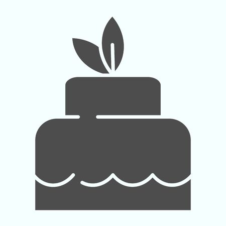 Delicious cacke solid icon. Sweet dessert vector illustration isolated on white. Festive cake glyph style design, designed for web and app. Eps 10.
