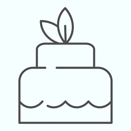 Delicious cacke thin line icon. Sweet dessert vector illustration isolated on white. Festive cake outline style design, designed for web and app. Eps 10. 일러스트