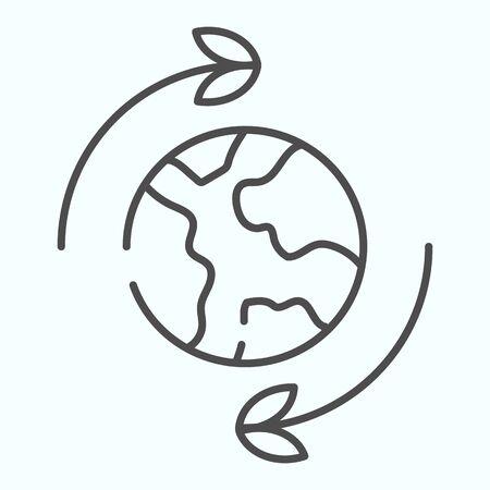 Icône de fine ligne de mouvement de la terre. Rotation de l'illustration vectorielle de terre isolée sur blanc. Planète avec conception de style de contour de flèches, conçue pour le web et l'application. Eps 10.