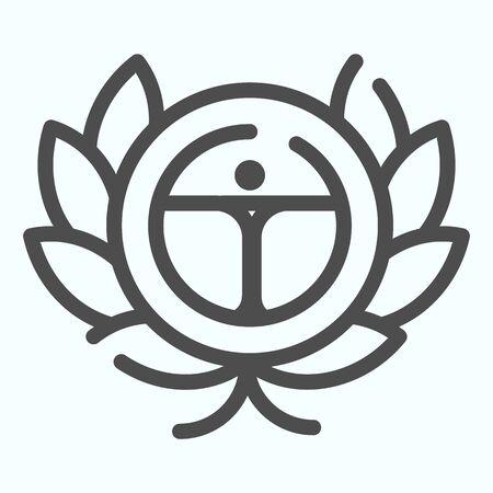 Icône de ligne de feuilles de laurier. Illustration de vecteur de couronne de laurier isolée sur blanc. Conception de style de contour de récompense, conçue pour le Web et l'application. Eps 10.